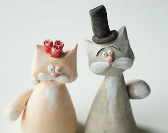 Wedding Cake Topper,  Cat Cake Topper, Ceramic cat, custom cake topper