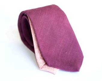 Wine tie linen tie, slim nectie