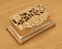 Vintage Postage Stamp Holder / inkwell / ink pot / decorative sunflower box || Solid Brass Victorian floral design || Writing Accessory
