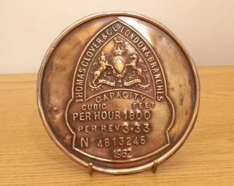 Thomas Clover and Co LTD London and Branches Vintage Brass Plaque / Badge / Plate