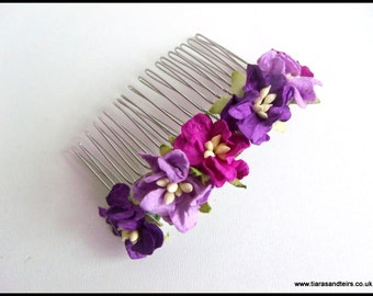 Purple tone floral/mulberry flower hair comb, floral hair comb, bridesmaid hair accessories, flower girl hair accessorie, wedding hair combs