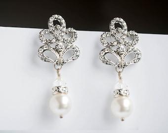 statement wedding earrings Rhinestone Earrings, Art Deco Wedding Jewelry - Vintage Inspired Bride Jewellery, Bridal Jewelry