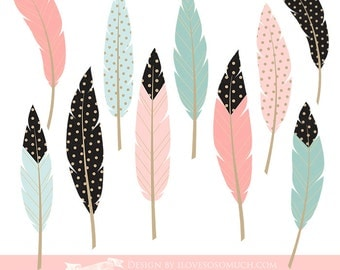 Feathers / Pink, Mint,Black Feathers Clip Art - Instant Download - CA062