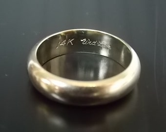Mens Vintage Estate 14k White Gold Wed-Lok Wedding Band 5.61g #E845