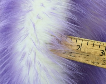 Super soft faux fur twotone shaggy fabric lilac/offwhite. Sold by the yard