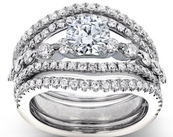 Diamond Split Shank 3-Piece Bridal Set 1 2/5 CTW in 14k White Gold