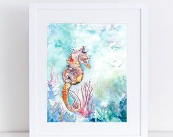 Seahorse , watercolor print, ocean life, coral, beach art, scuba diving, purple seahorse, whimsical, orange, coral