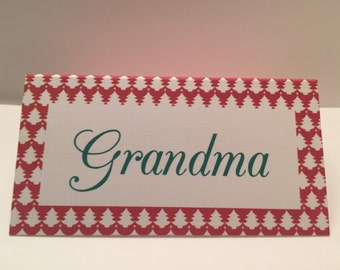 Set of 8 Personalized Christmas Dinner Party Holiday Party Place Cards