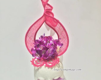 Red Purple with shoking pink party wedding fascinator headpiece hats