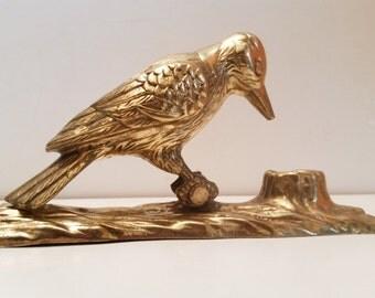 Vintage Brass Wood Pecker Door Knocker
