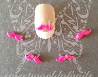 3D Nail Art Hot Pink Mustache Kawaii Nail Decoration