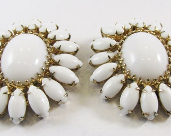Vintage 1950s Signed Vogue Gold Toned Floral White Rhinestone Earrings
