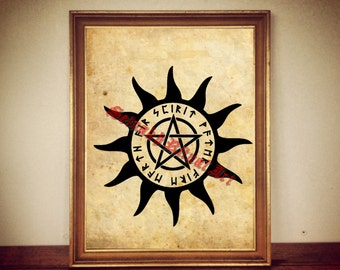 Wiccan pentagram poster, occult print, magic illustration, esoteric art, occultism, wiccan home decor, four elements, norse art #105