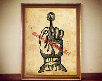 Hand of Glory print, occult poster, esoteric art, occultism, magick, witchcraft, witch, ritual altar decor, seal, magic symbol, spell #358