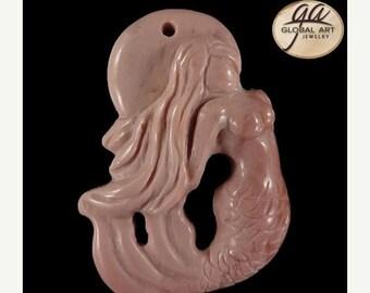 on sale EA16823# Natural Hand Carved Mermaid  Art Red Carnelian Gemstone Pendant Bead