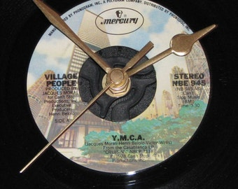 "The Village people y.m.c.a.  7"" vinyl record clock"