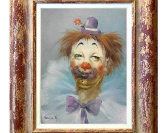 "Framed Italian painting ""The Clow"" original oil canvas Antonietta Varallo Italy"