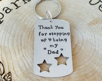 Hand stamped personalised keyring, 'Thank you for stepping up & being my dad' for Step dad, gift for dad, daddy, Father's Day etc..