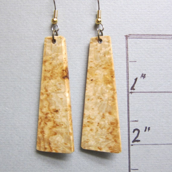 Unusual Honey Locust Long dangle Exotic Wood Earrings repurposed ecofriendly Handcrafted ExoticWoodJewelryAnd