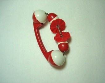 Red Plakie celluloid 1940's baby rattle