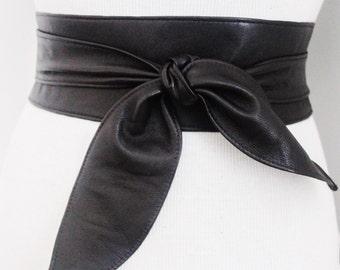 Black Brown Soft Leather Obi Tulip tie Belt   Waist or Hip Belt   Sash tie belt   Real Leather Belt  Corset Belt   Plus size belts