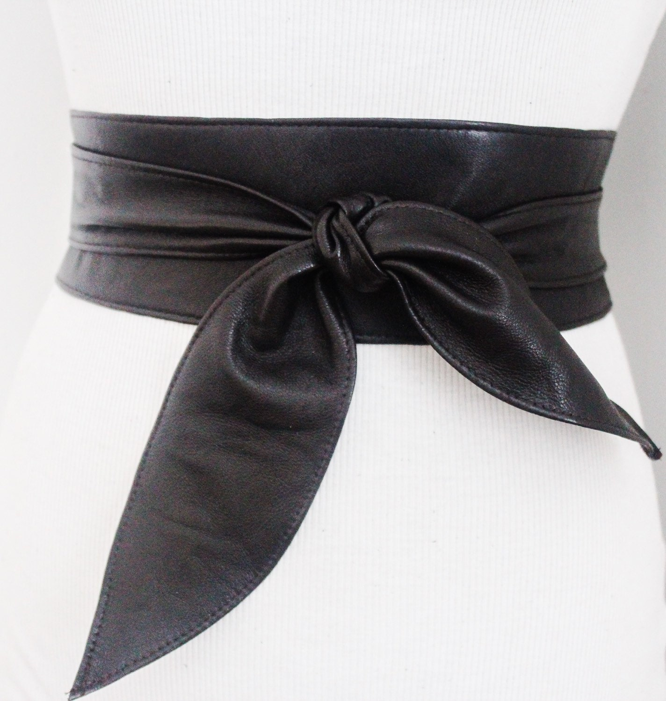 black brown soft leather obi tulip tie belt waist or hip