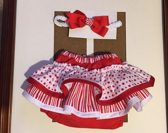 Baby fancy red and white bloomers and headband