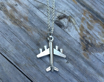 Plane charm on a Silver Plated Necklace 18 inches, airplane necklace, travel necklace
