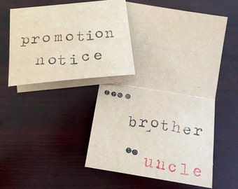 Hand Stamped Pregnancy Announcement Cards ~ Baby Announcement Cards ~ Uncle Cards