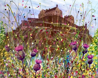 Thistles And Castle. Scottish thistle. Art print from an original painting. Free uk postage.