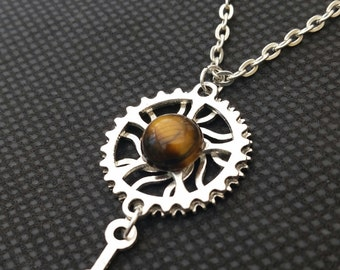 Steampunk Pendant with Golden Tiger Eye
