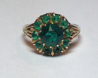 Sale Vintage 1950's 10k Yellow Gold Emerald Green Color Rhinestone Ring