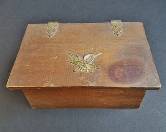 Rope Handled Lidded Wood Divided Box with Brass Eagle Accent and Hardware