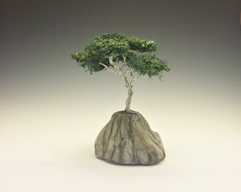 """Wire bonsai tree """"planted"""" in stone"""