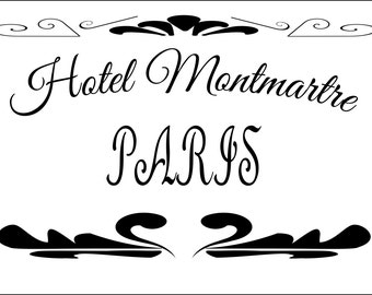 Shabby Chic Stencil French Hotel Montmartre - Stencil in Reusable Mylar For Signs, Furniture Fabric