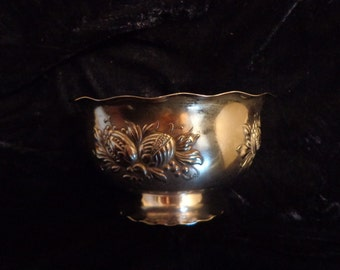 PRIMANS of Sweden Silver Plate Ornate Sauce Bowl, Candy Bowl, Salsa Bowl, Nut Bowl, Scalloped and Footed Silver Bowl