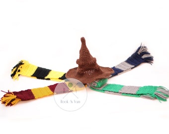 SET, Harry Potter Sorting Hat & House Scarf Harry Potter character hat, Newborn, Infant Photo prop, costume, dressup, cosplay