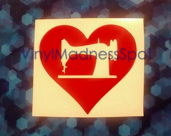 I love sewing decal sewing machine decal (size 3.3 inches tall by 3.6inches wide) heart sewing machine decal