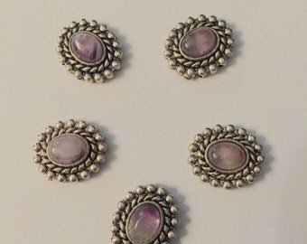 Silver Plated / 2-holed Beads with stone- 5pc