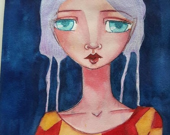 The girl with the broken stars. Mixed media one of a kind painting on paper.