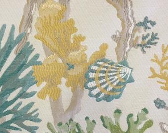 Aqua - Green - Yellow - Coral Reef - Coastal - Beachy - Upholstery Fabric  By The Yard