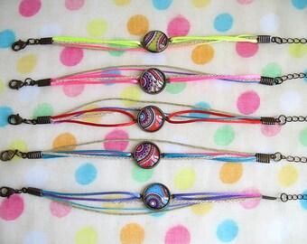 Bohemian Kashmir cabochon bracelet and multicolor