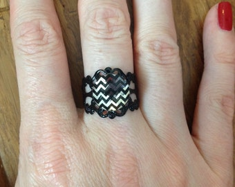 Black And Silver Chevron Adjustable Ring. Black Filigree Band. One Size Fits All. #15