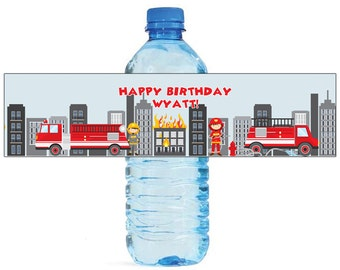 Fire Fighter Theme Water Bottle Labels Celebrations Birthday Party, Kids party, firemen party