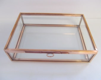 4 x 6 Glass and Copper Box,  Photo Box, Jewelry Box, Memory Box, Keepsake Box, Wedding, Anniversary