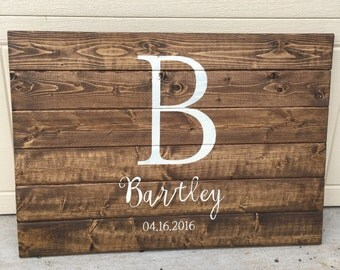 Custom wood stained wedding anniversary sign love marriage script