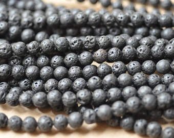 Black Lava Round 8mm black lava beads 16 Inch Strand