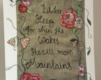 Freehand embroidered let her sleep print