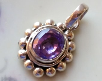 Vintage Faceted Purple Amethyst Pendant Beaded 925 Sterling Silver 3.4 Grams