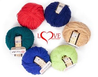 Knitting yarn, Cotton blend yarn,  Knitting crochet yarn, Summer yarn, JEANS 50g 160m